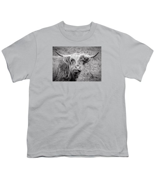Highland Cow Youth T-Shirt by Jeremy Lavender Photography