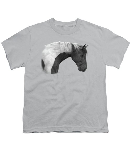 Intrigued - Black And White Youth T-Shirt by Lucie Bilodeau