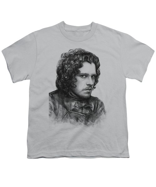 Jon Snow Game Of Thrones Youth T-Shirt by Olga Shvartsur