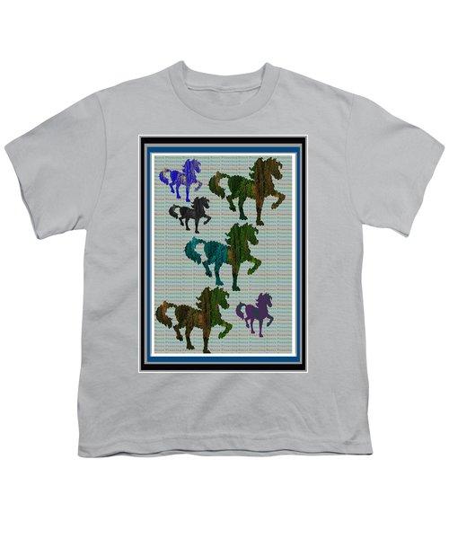 Kids Fun Gallery Horse Prancing Art Made Of Jungle Green Wild Colors Youth T-Shirt by Navin Joshi