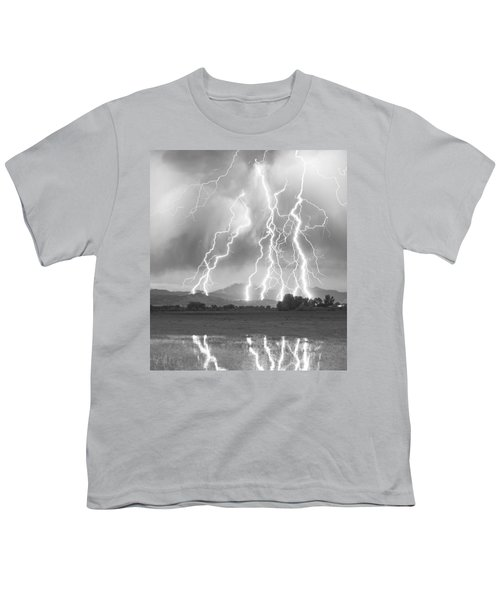 Lightning Striking Longs Peak Foothills 4cbw Youth T-Shirt by James BO  Insogna