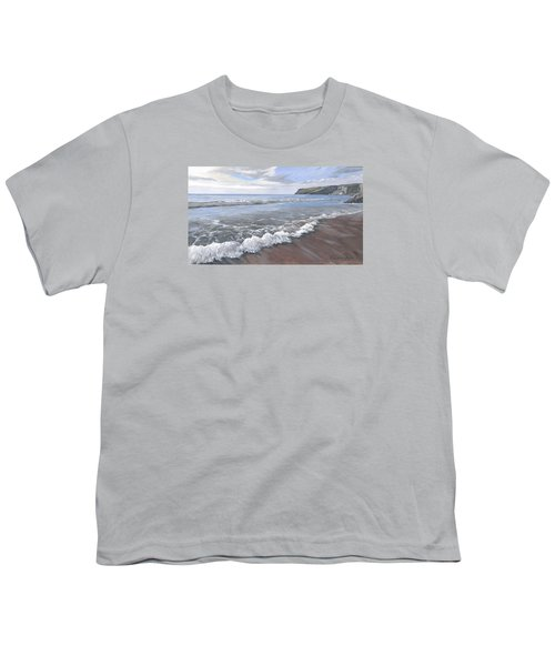 Youth T-Shirt featuring the painting Long Waves At Trebarwith by Lawrence Dyer
