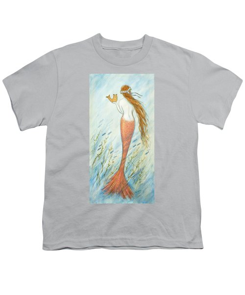 Mermaid And Her Catfish, Goldie Youth T-Shirt by Tina Obrien