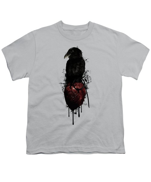 Raven And Heart Grenade Youth T-Shirt by Nicklas Gustafsson