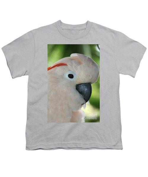 Salmon Crested Moluccan Cockatoo Youth T-Shirt by Sharon Mau