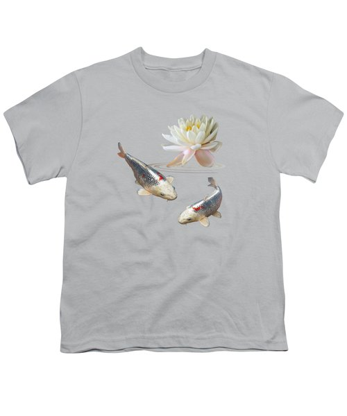 Silver And Red Koi With Water Lily Youth T-Shirt