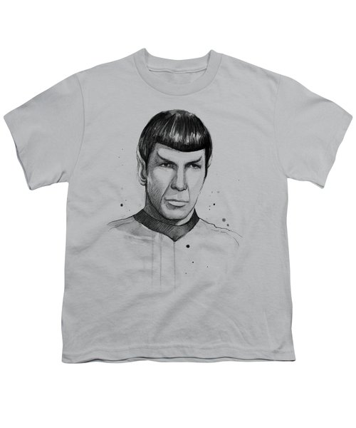 Spock Watercolor Portrait Youth T-Shirt by Olga Shvartsur
