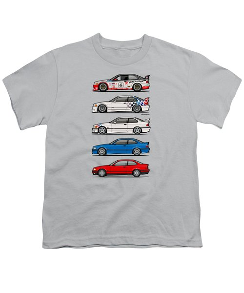 Stack Of Bmw 3 Series E36 Coupes Youth T-Shirt