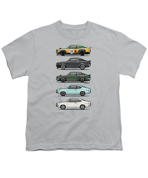 Stack Of Mazda Savanna Gt Rx-3 Coupes Youth T-Shirt
