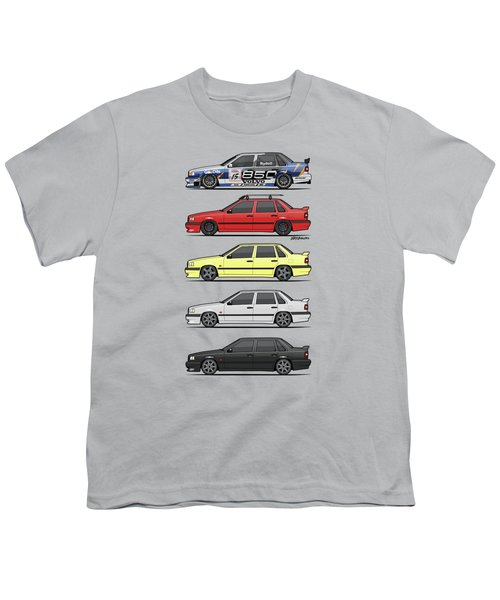 Stack Of Volvo 850r 854r T5 Turbo Saloon Sedans Youth T-Shirt by Monkey Crisis On Mars