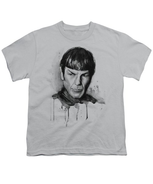 Star Trek Spock Portrait Sci-fi Art Youth T-Shirt by Olga Shvartsur