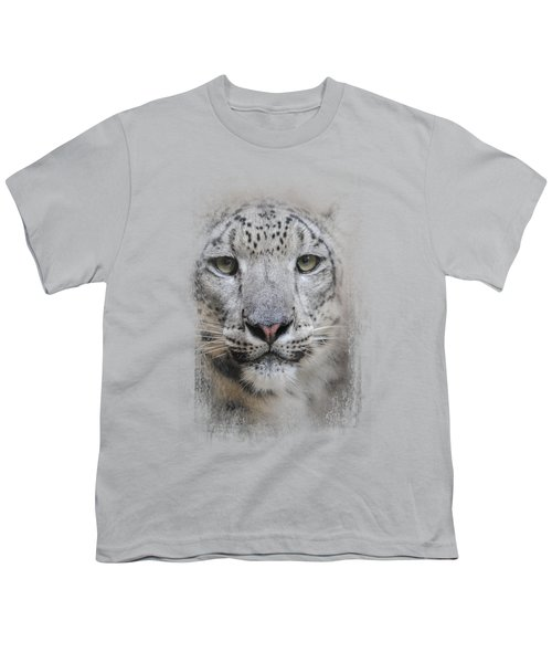 Stare Of The Snow Leopard Youth T-Shirt by Jai Johnson