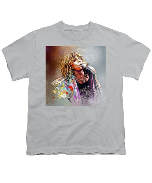Steven Tyler 02  Aerosmith Youth T-Shirt by Miki De Goodaboom