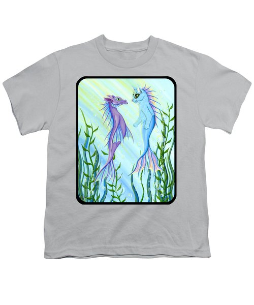 Sunrise Swim - Sea Dragon Mermaid Cat Youth T-Shirt by Carrie Hawks
