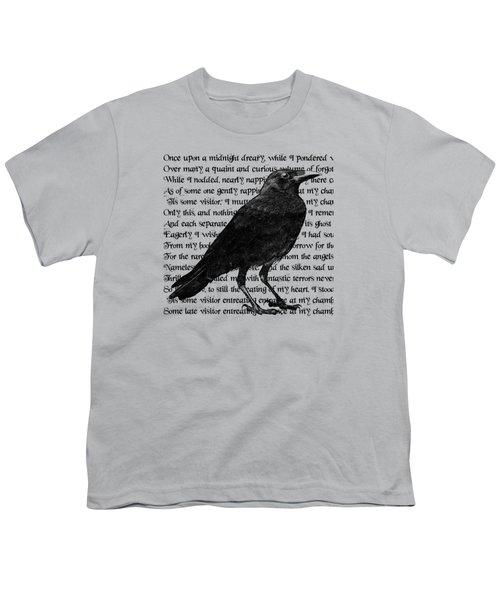 The Raven Poem Art Print Youth T-Shirt by Sandra McGinley