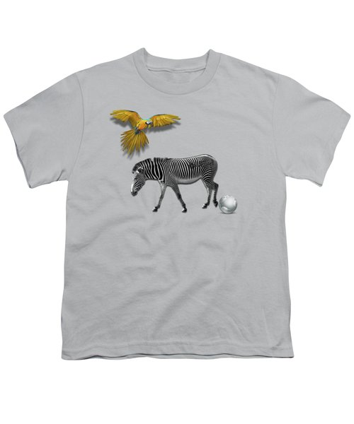 Two Zebras And Macaw Youth T-Shirt by iMia dEsigN