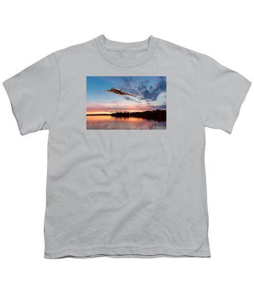 Youth T-Shirt featuring the digital art Vulcan Low Over A Sunset Lake by Gary Eason