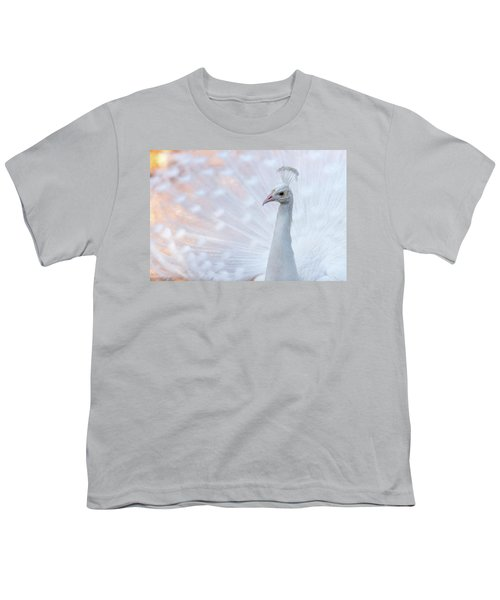Youth T-Shirt featuring the photograph White Peacock by Sebastian Musial