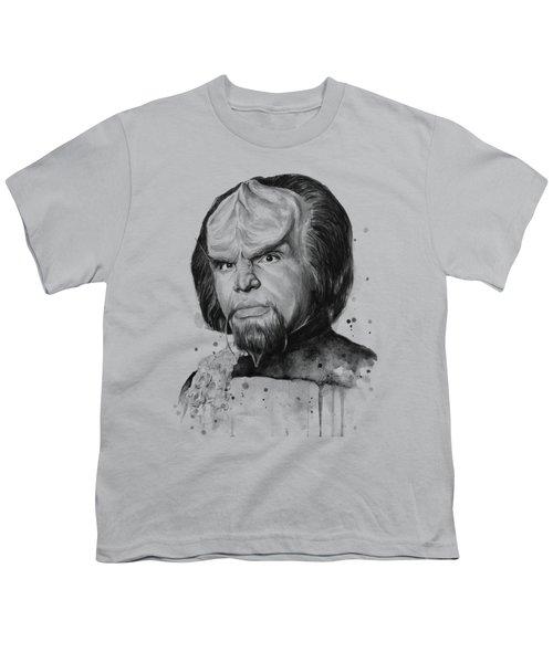 Worf Portrait Watercolor Star Trek Art Youth T-Shirt by Olga Shvartsur