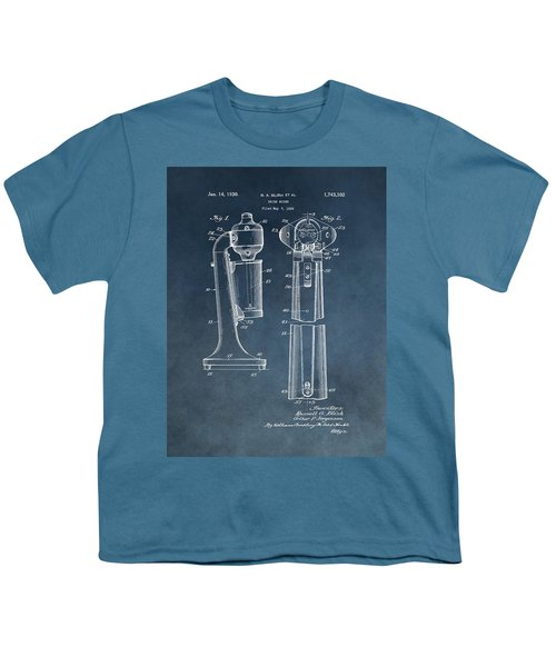 1930 Drink Mixer Patent Blue Youth T-Shirt by Dan Sproul