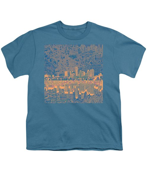 Austin Texas Skyline 2 Youth T-Shirt by Bekim Art