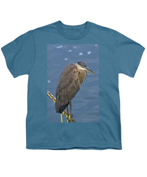 Youth T-Shirt featuring the photograph Blue Herron by Jim Thompson