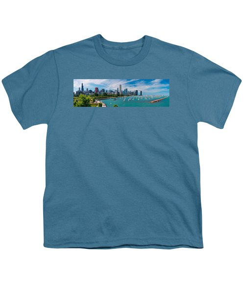 Chicago Skyline Daytime Panoramic Youth T-Shirt