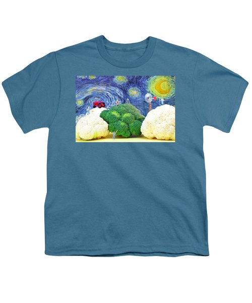 Farming On Broccoli And Cauliflower Under Starry Night Youth T-Shirt by Paul Ge