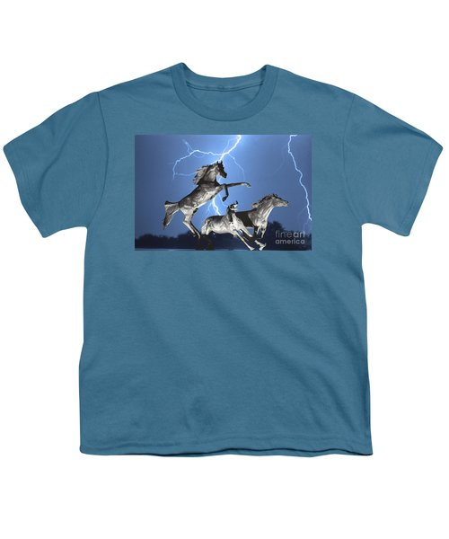 Lightning At Horse World Bw Color Print Youth T-Shirt by James BO  Insogna