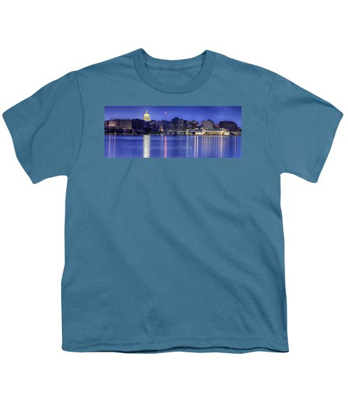 Madison Skyline Reflection Youth T-Shirt by Sebastian Musial
