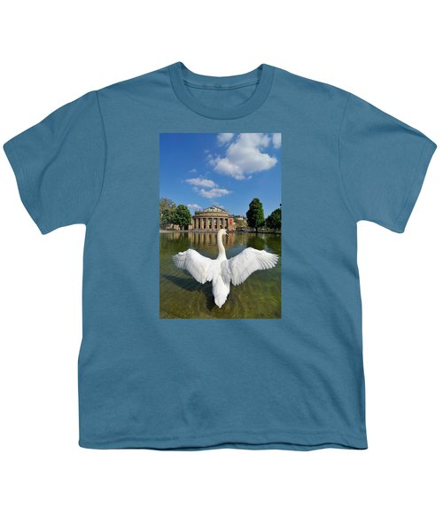 Swan Spreads Wings In Front Of State Theatre Stuttgart Germany Youth T-Shirt by Matthias Hauser