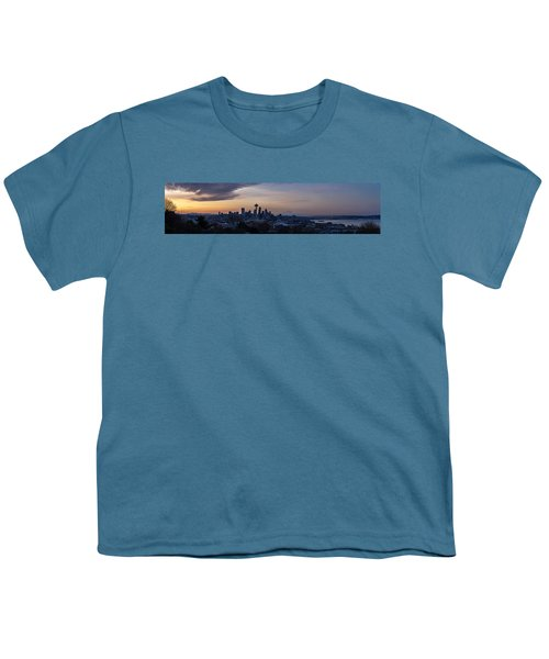 Wide Seattle Morning Skyline Youth T-Shirt by Mike Reid