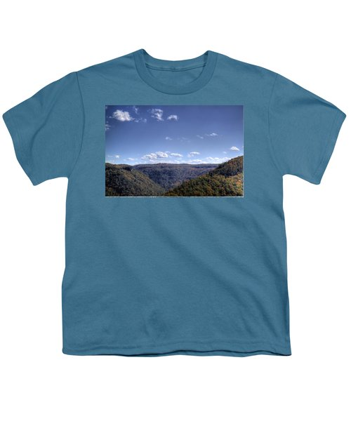 Youth T-Shirt featuring the photograph Wide Shot Of Tree Covered Hills by Jonny D