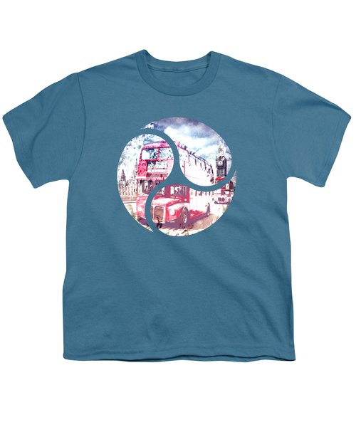 Graphic Art London Westminster Bridge Streetscene Youth T-Shirt by Melanie Viola