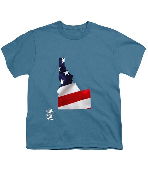Idaho State Map Collection Youth T-Shirt by Marvin Blaine