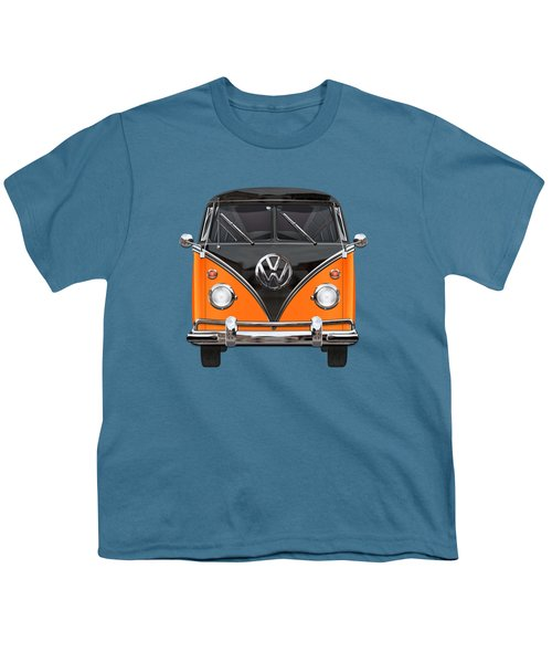 Volkswagen Type 2 - Black And Orange Volkswagen T 1 Samba Bus Over Blue Youth T-Shirt by Serge Averbukh
