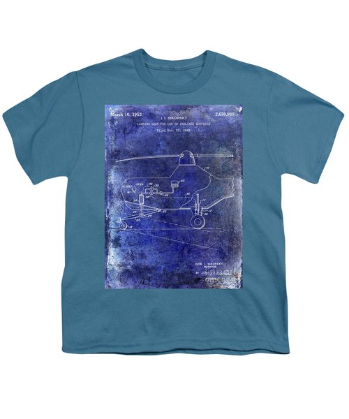 1953 Helicopter Patent Blue Youth T-Shirt by Jon Neidert