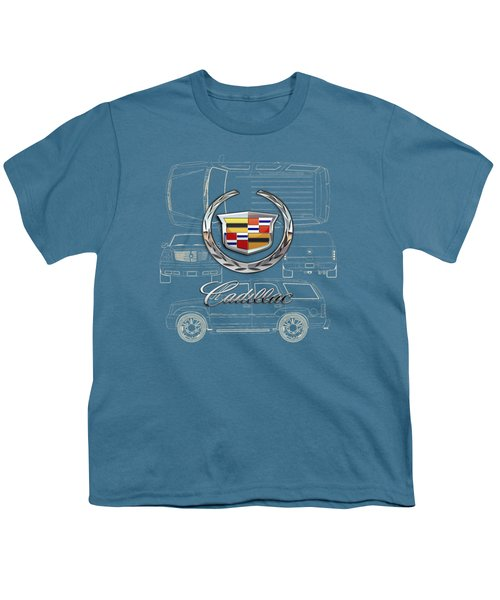 Cadillac 3 D Badge Over Cadillac Escalade Blueprint  Youth T-Shirt by Serge Averbukh