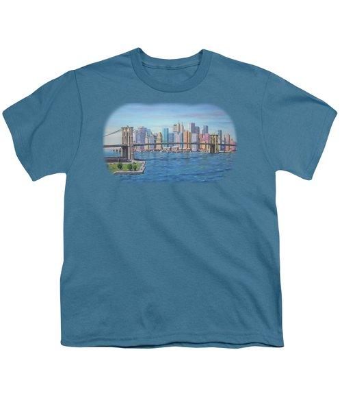 New York Brooklyn Bridge Youth T-Shirt by Renato Maltasic