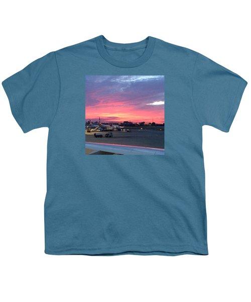 London City Airport Sunset Youth T-Shirt by Patsy Jawo