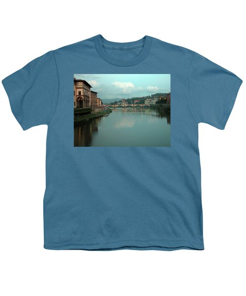Youth T-Shirt featuring the photograph Arno River, Florence, Italy by Mark Czerniec
