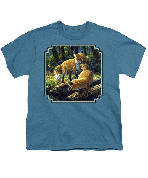 Red Foxes - Sibling Rivalry Youth T-Shirt by Crista Forest