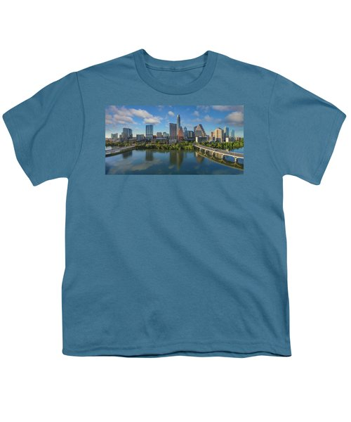 Austin Skyline Panorama Spring Afternoon 7-1 Youth T-Shirt by Rob Greebon