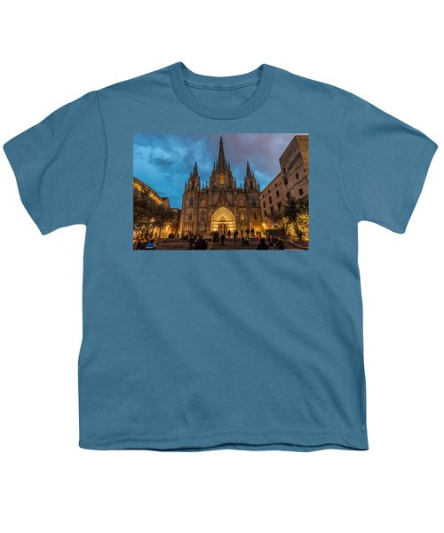Barcelona Cathedral At Dusk Youth T-Shirt by Randy Scherkenbach