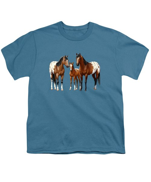 Bay Appaloosa Horses In Winter Pasture Youth T-Shirt by Crista Forest
