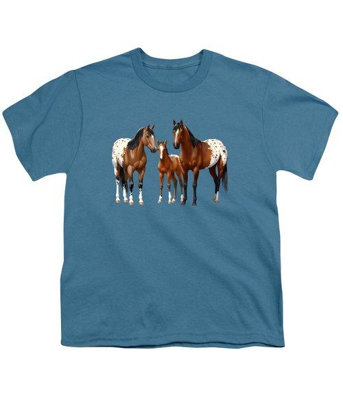 Bay Appaloosa Horses In Winter Pasture Youth T-Shirt
