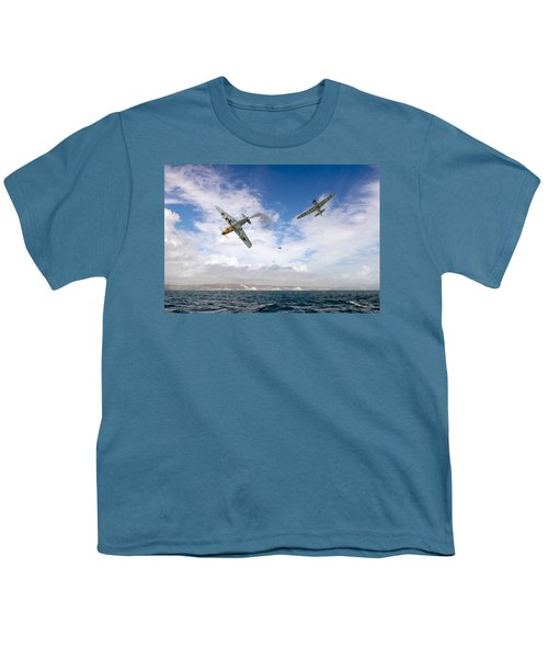 Youth T-Shirt featuring the photograph Bf109 Down In The Channel by Gary Eason