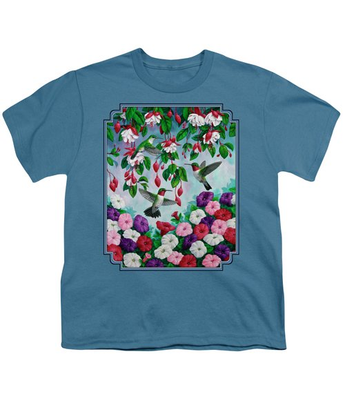 Bird Painting - Hummingbird Heaven Youth T-Shirt by Crista Forest
