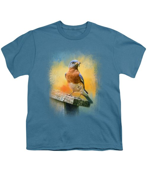 Bluebird Mealtime Youth T-Shirt by Jai Johnson