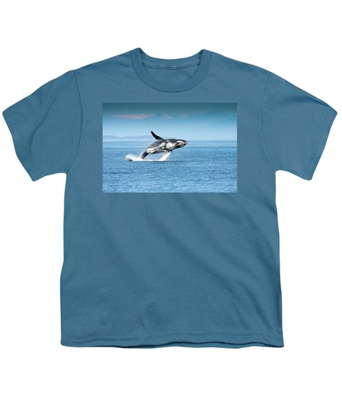 Breaching Humpback Whales Happy-4 Youth T-Shirt